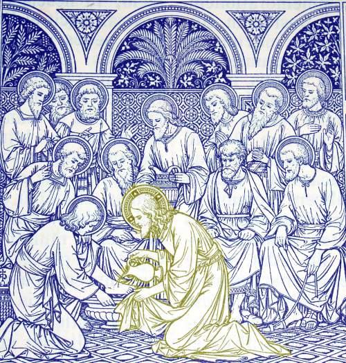 Chrystus w Wielki Czwartek umywa uczniom  nogi